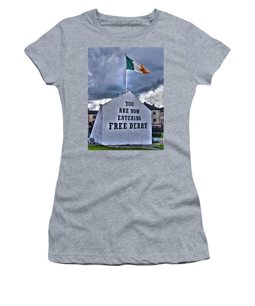 Free Derry Wall Women's T-Shirt (Junior Cut) by Nina Ficur Feenan