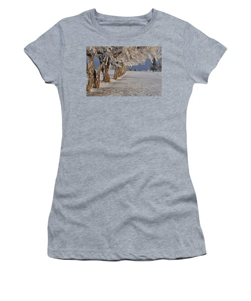 Women's T-Shirt (Junior Cut) featuring the photograph Frosted Trees by Fran Riley