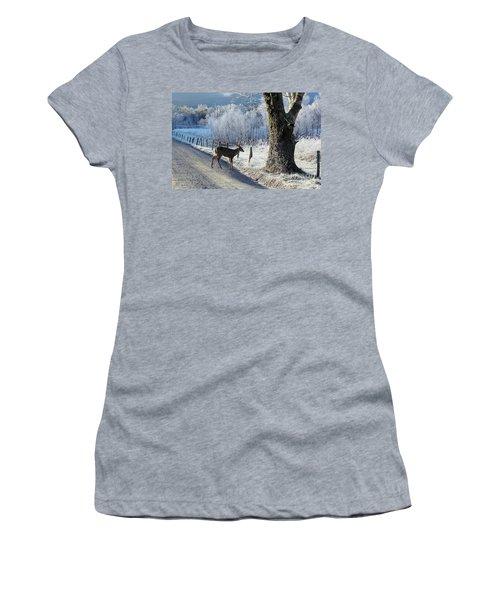 Frosty Cades Cove II Women's T-Shirt (Junior Cut) by Douglas Stucky