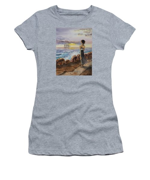 Women's T-Shirt (Athletic Fit) featuring the painting Girl And The Ocean Sailing Ship by Irina Sztukowski