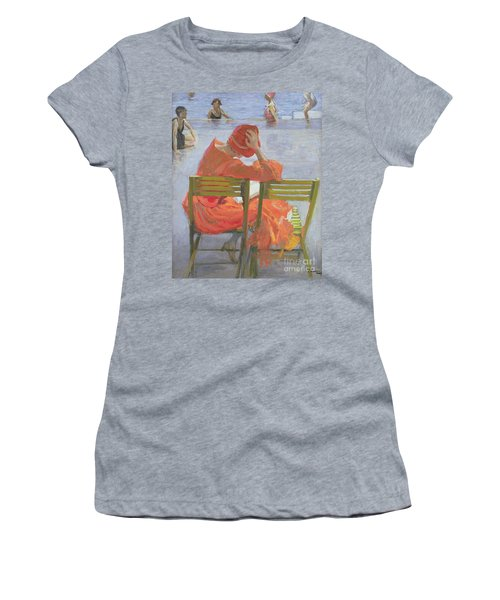 Girl In A Red Dress Reading By A Swimming Pool Women's T-Shirt