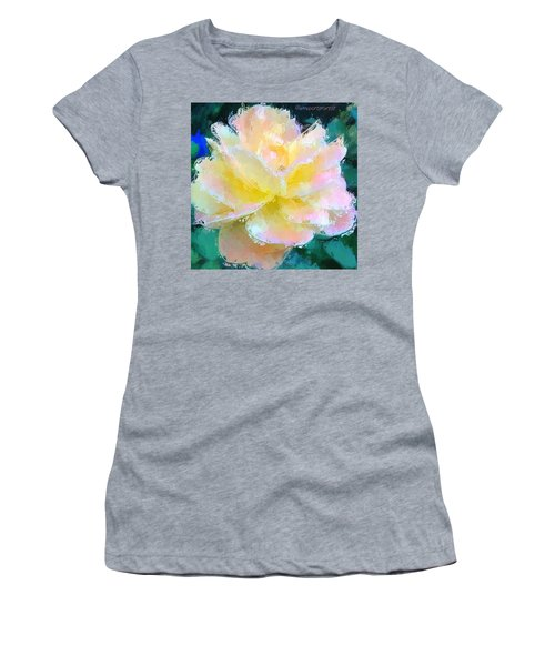 Glazed Pale Pink And Yellow Rose  Women's T-Shirt (Athletic Fit)