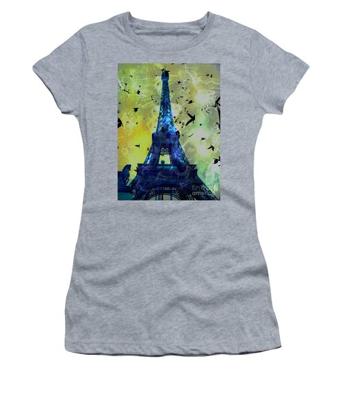 Glowing Eiffel Tower Women's T-Shirt (Athletic Fit)