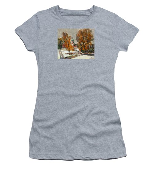 Golden Autumn Under Snow Women's T-Shirt (Athletic Fit)
