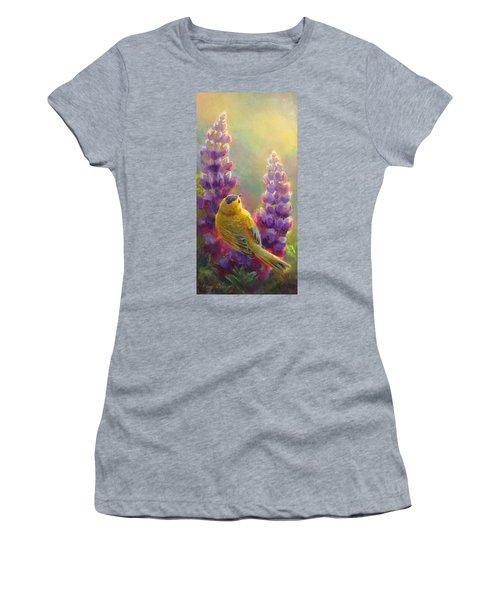 Golden Light 1 Wilsons Warbler And Lupine Women's T-Shirt
