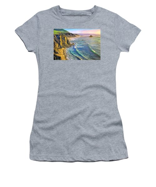 Golden Sunset At Big Sur Women's T-Shirt (Athletic Fit)