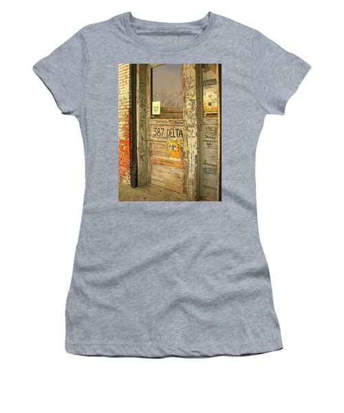 Graffiti Door - Ground Zero Blues Club Ms Delta Women's T-Shirt (Junior Cut) by Rebecca Korpita