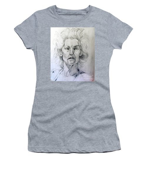 Graphite Portrait Sketch Of A Well Known Cross Eyed Model Women's T-Shirt