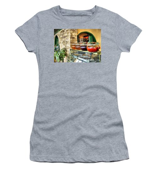 Greek Isle Restaurant Still Life Women's T-Shirt (Athletic Fit)