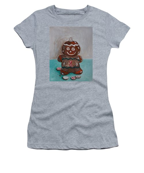Happy Gingerbread Man Women's T-Shirt (Junior Cut) by Victoria Lakes