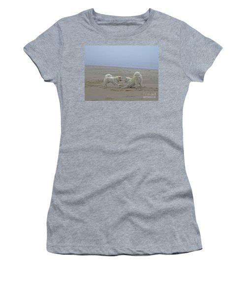 Women's T-Shirt (Junior Cut) featuring the photograph Happy Girls Beach Side by Fiona Kennard