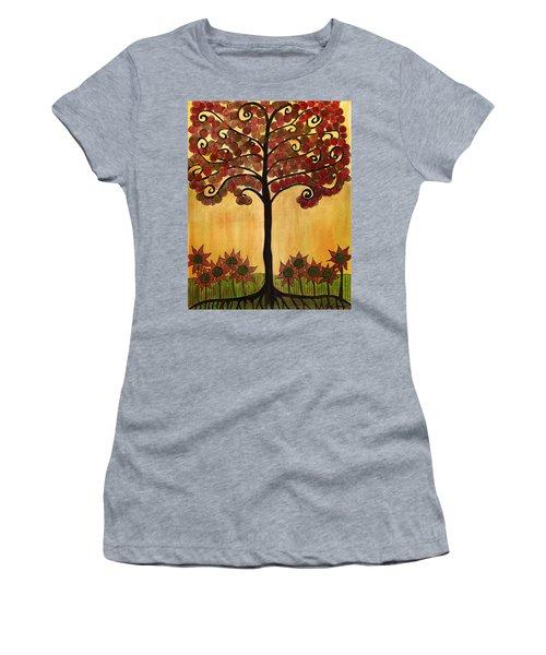 Happy Tree In Red Women's T-Shirt