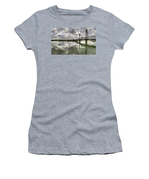 Hawthorne Bridge Over Willamette River Women's T-Shirt (Athletic Fit)