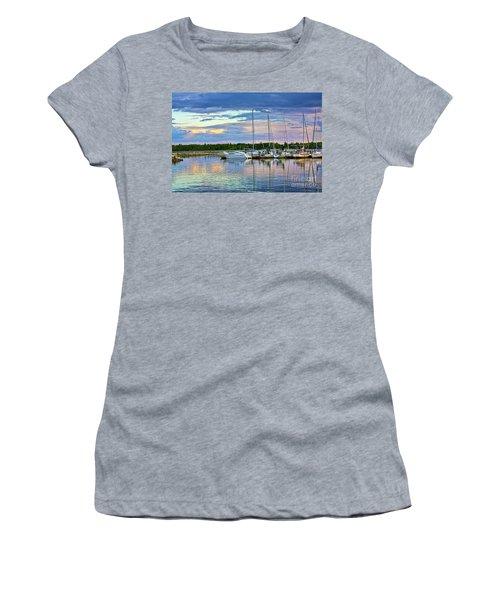 Women's T-Shirt (Junior Cut) featuring the photograph Hecla Island Boats II by Teresa Zieba