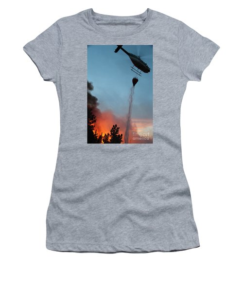 Helicopter Drops Water On White Draw Fire Women's T-Shirt (Athletic Fit)