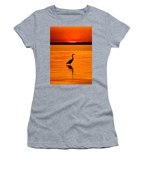 Heron With Burnt Sienna Sunset Women's T-Shirt (Athletic Fit)