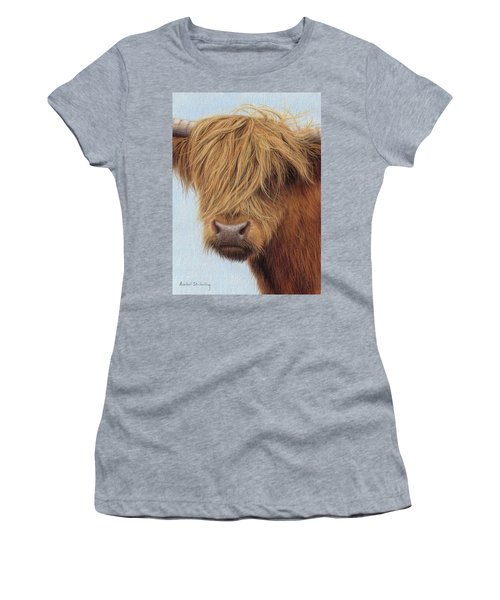 Highland Cow Painting Women's T-Shirt (Junior Cut) by Rachel Stribbling