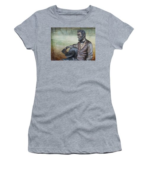 History - Abraham Lincoln Contemplates -  Luther Fine Art Women's T-Shirt (Athletic Fit)