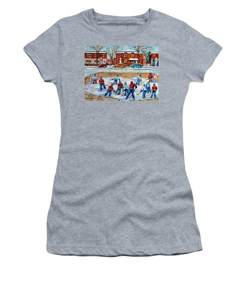 Hockey Rink At Van Horne Montreal Women's T-Shirt (Athletic Fit)