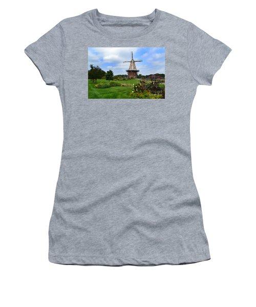 Holland Michigan Windmill Landscape Women's T-Shirt (Athletic Fit)