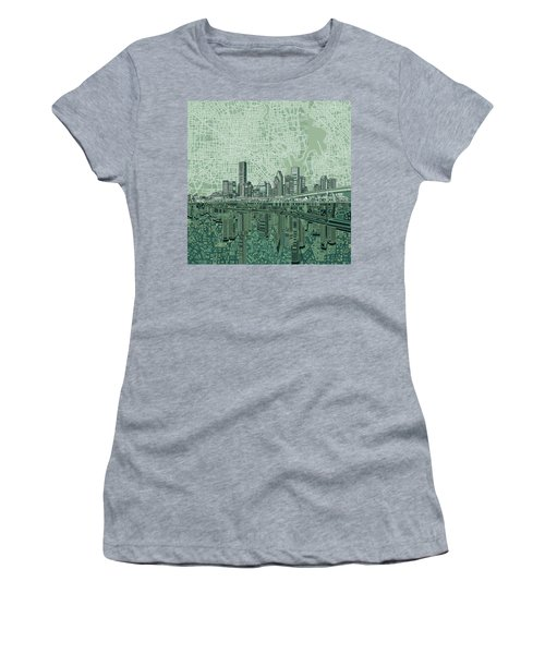 Houston Skyline Abstract 2 Women's T-Shirt (Athletic Fit)