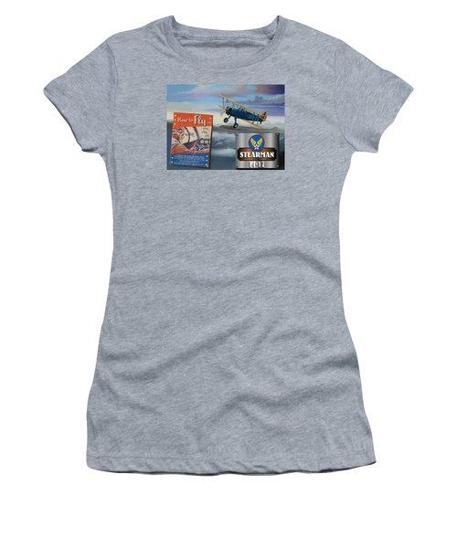 How To Fly Stearman Pt-17 Women's T-Shirt (Junior Cut) by Stuart Swartz