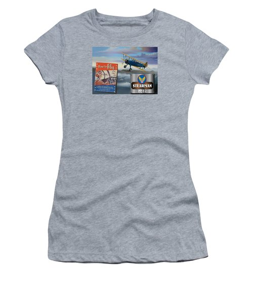 How To Fly Stearman Pt-17 Women's T-Shirt (Athletic Fit)