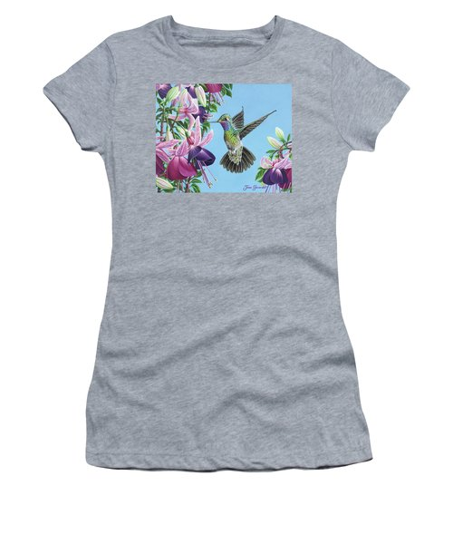 Hummingbird And Fuchsias Women's T-Shirt (Athletic Fit)