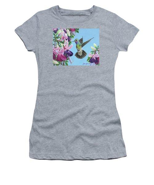 Hummingbird And Fuchsias Women's T-Shirt