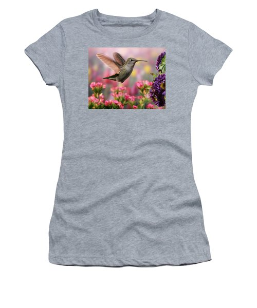 Hummingbird In Colorful Garden Women's T-Shirt (Athletic Fit)