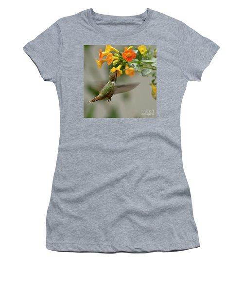 Hummingbird Sips Nectar Women's T-Shirt (Junior Cut) by Heiko Koehrer-Wagner