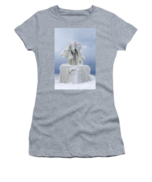 Ice Covered Warning Tower Along Lake Michigan In St. Joseph Michigan Women's T-Shirt