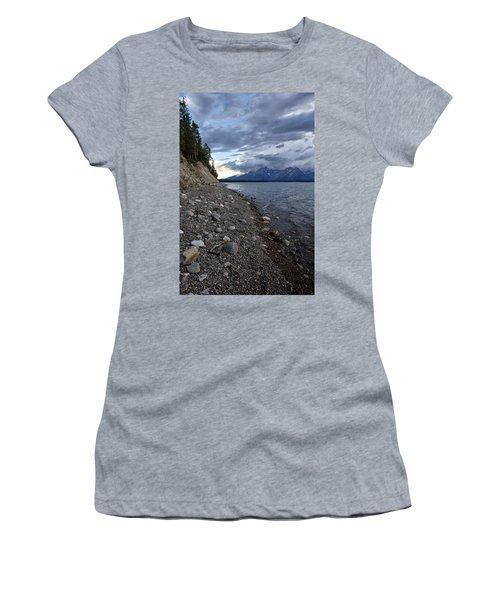 Jackson Lake Shore With Grand Tetons Women's T-Shirt (Junior Cut) by Belinda Greb