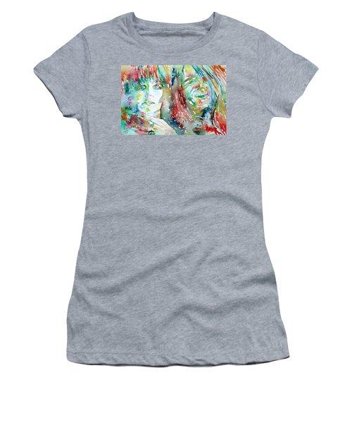 Janis Joplin And Grace Slick Watercolor Portrait.1 Women's T-Shirt (Athletic Fit)