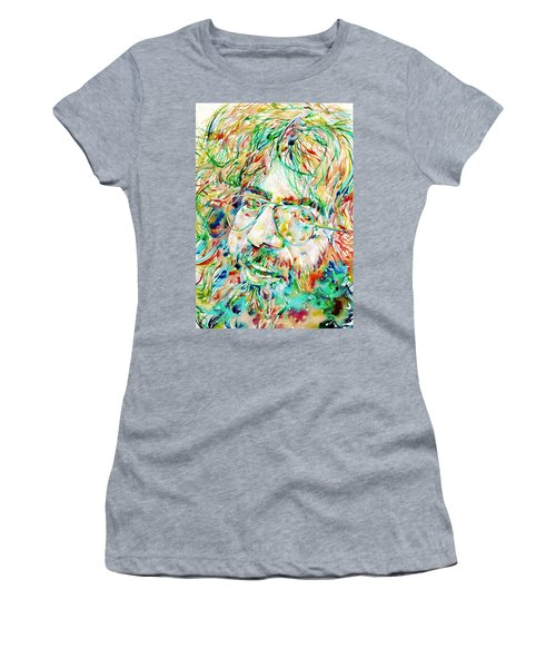 Jerry Garcia Watercolor Portrait.1 Women's T-Shirt (Athletic Fit)