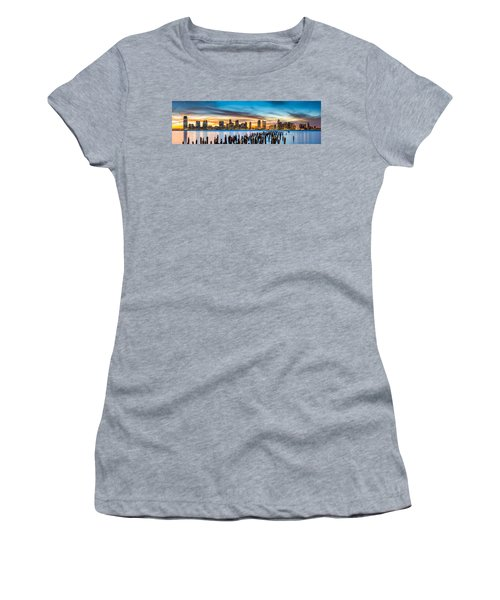 Jersey City Panorama At Sunset Women's T-Shirt (Athletic Fit)