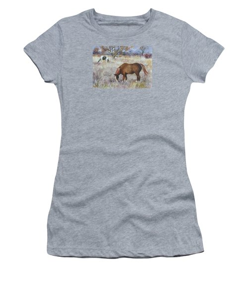 Jill's Horses On A November Day Women's T-Shirt (Junior Cut) by Anne Gifford