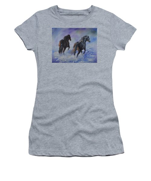 Kicking Up Snow Women's T-Shirt (Athletic Fit)