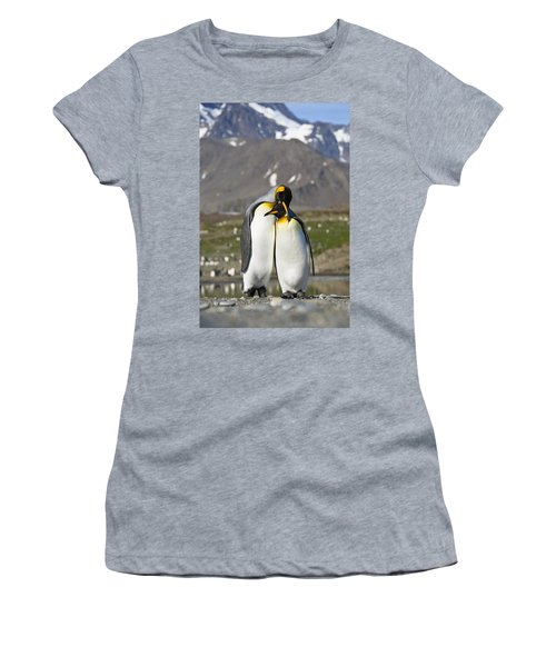 Women's T-Shirt featuring the photograph King Penguins Courting St Andrews Bay by Konrad Wothe