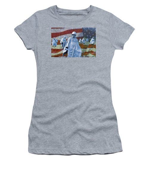 Korean War Veterans Memorial Bronze Sculpture American Flag Women's T-Shirt (Athletic Fit)