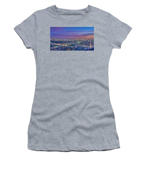 La Fiery Sunset Cityscape Skyline Women's T-Shirt (Athletic Fit)