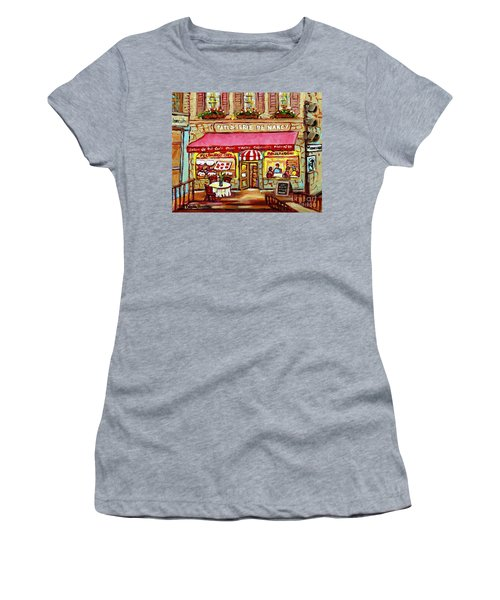La Patisserie De Nancy French Pastry Boulangerie Paris Style Sidewalk Cafe Paintings Cityscene Art C Women's T-Shirt