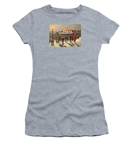Women's T-Shirt (Junior Cut) featuring the painting Last Ferry by Rita Brown
