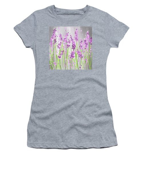 Lavender Blossoms - Lavender Field Painting Women's T-Shirt (Athletic Fit)