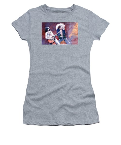 Led Zeppelin Jimmi Page And Robert Plant  Women's T-Shirt (Athletic Fit)