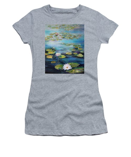 Women's T-Shirt featuring the painting Leo Mol's Garden by Ruth Kamenev