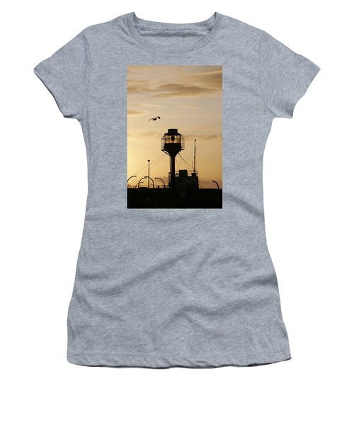 Light Ship Silhouette At Sunset Women's T-Shirt (Athletic Fit)