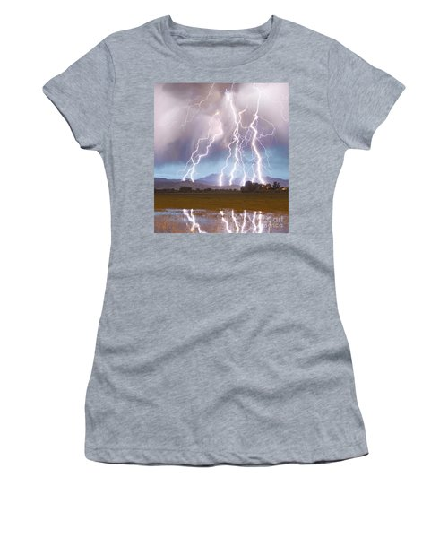Lightning Striking Longs Peak Foothills 4c Women's T-Shirt (Athletic Fit)