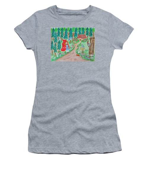 Little Red Riding Hood With Grandma's House On Mailbox Women's T-Shirt (Athletic Fit)