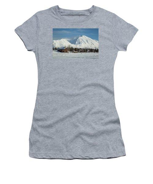 Log Cabins On Frozen Lake Shore Women's T-Shirt